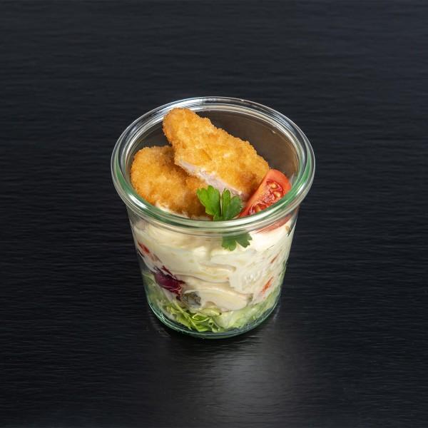 bunter Kartoffelsalat mit Mini-Schnitzel