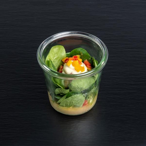 Feldsalat mit Kartoffelspeck-Dressing