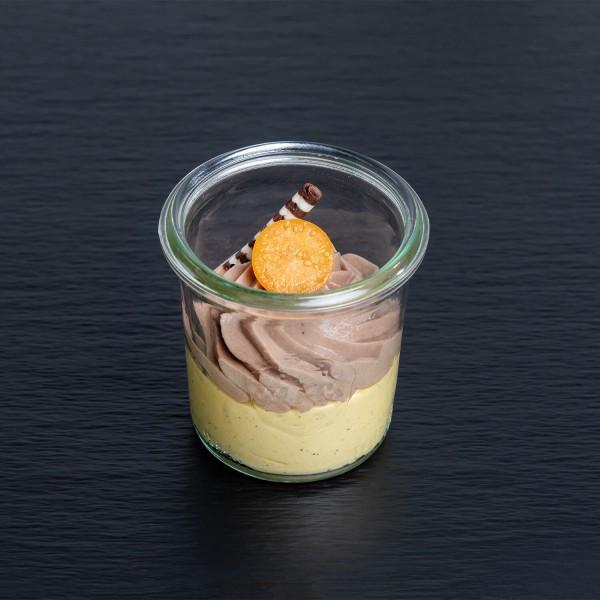 Maracuja-Creme mit Schokoschaum