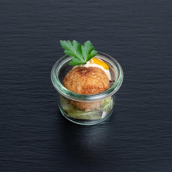 fritierte Garnelen-Reisbällchen mit Ingwer